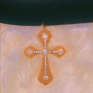 Diamond covered choker cross necklace